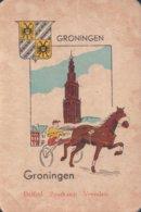 1 Oude Speelkaart Uit Steden Kwartet : Groningen : Baarn (paardenrennen Paard Koers Jockey ) - Autres