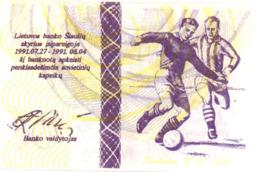 LITHUANIE -- Olympic -- Bank Note 50 Centauru Football 1991 UNC - Litouwen