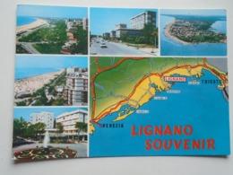 D168874 Italia - Lignano  Map Caorle Grado Bibione Jesolo Trieste  Venezia  1967 - Venezia (Venice)