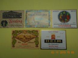 """Lot De 5 étiquettes De Vin """" ALSACE """" - Collections & Sets"""