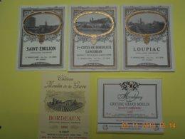 """Lot De 5 étiquettes De Vin """" BORDEAUX """" - Collections, Lots & Séries"""