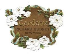 """Petite Etiquette """"gaufrée"""" Parfum - RICHARD HUDNUT New York - GARDENIA - Fleurs Blanches - Labels"""