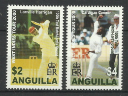 ANGUILLA 2000  CRICKET,WEST INDIES TOUR,100th TEST MATCH  SET MNH - Anguilla (1968-...)