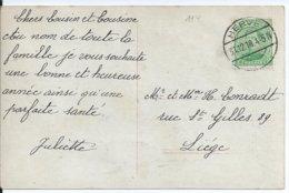 Fantasiekaart Met OCB 137 - Afstempeling HERVE (Duits Type) - 1915-1920 Albert I