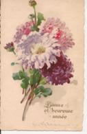 L80A004 - Bonne Et Heureuse  Année - Dessin D'un Bouquet De Dalhias - New Year