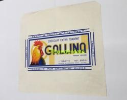 RARE !  TRES GRANDE ANCIENNE ETIQUETTE EMBALLAGE ETIKET LABEL CHOCOLADE CHOCOLAT GALLINA MONS COQ POULET - Labels