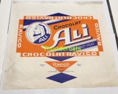 RARE ! TRES GRANDE ANCIENNE ETIQUETTE EMBALLAGE ETIKET LABEL CHOCOLADE CHOCOLAT RAVICO ALI ALITEX BRUXELLES - Labels
