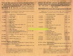 RARE ! LISTE ANCIENNE DES CADEAUX ETIQUETTE EMBALLAGE ETIKET LABEL CHOCOLADE CHOCOLAT RAVICO ALI ALITEX BRUXELLES - Autres