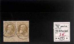 [819221]TB//O/Used-Belgique 1905 - N° 75, Termonde, En Paire, Rois - 1905 Grosse Barbe