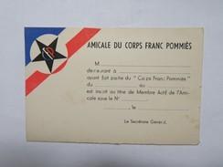 Carte De L'Amicale Du Corps Franc Pommiès, Non écrite, Dimensions 12,5 Cm Sur 8 Cm - War 1939-45