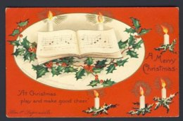 Ellen Clapsaddle A/s - A Merry Christmas Lit Candle Song Book Holly Red Berries - Natale