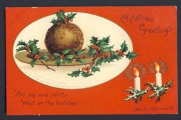 Ellen Clapsaddle A/s Christmas Greetings Lit Candle Plum Pudding Holly Berries - Natale
