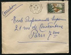 Algérie Lettre Avec Cachet Ambulant De Biskra à Constantine Du 14/03/1953 Pour Paris - Algeria (1924-1962)