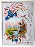 . CALENDRIER 1889...RARE PETIT CHROMO .....AMIDON BERGER.......PAYSAGE.... ÉTANG  ....VILLAGE - Calendriers