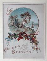 . CALENDRIER 1889...RARE PETIT CHROMO .....AMIDON BERGER.......PAYSAGE....ÎLE...VOILIER - Calendriers