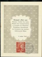Menu  Avec N° 809 Obl. Bxl 09/07/1949 - ....-1951
