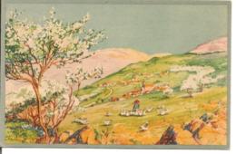L80A030 - Dessin D'un Joli Paysage De Printemps Avec Une Fermière Et Ses Oies - SOS Village D'enfants De France - Fancy Cards