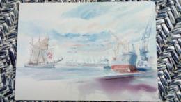 CPM. SAIL ART - Aquarel Peter HOFLAND - HOLLAND - PORT BATEAU CARGO - AQUARELLE - Paintings
