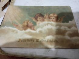 4 BIGLIETTINI  ANGELI  FIORI  BUON E FESTE  1 DIPINTO A MANO 1900/1950  HG1480 - Other