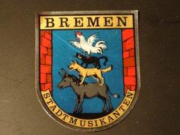 Blason écusson Ane, Chien, Chat, Coq Adhésif Autocollant Sticker Coat Of Arms; Aufkleber Wappen  Bremen - Obj. 'Souvenir De'