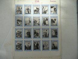 Rare Feuille Complète Vignettes Jeanne D'arc Compiegne 1930 . Feuille De 20 Vignettes . Les Dessins Sont De PINCHON - Erinnofilia