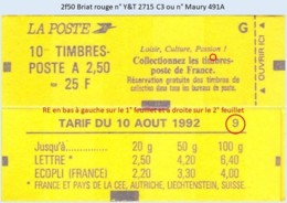 FRANCE - Carnet Conf. 9, RE - 2f50 Briat Rouge - YT 2715 C3 / Maury 491A - Usage Courant