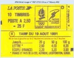 FRANCE - Carnet Conf. 6, RE - 2f50 Briat Rouge - YT 2715 C4 / Maury 492 - Usage Courant