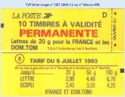 FRANCE - Carnet Conf. 6, RE, T.D.6-7 à Droite - TVP Briat Rouge - YT 2806 C1 / Maury 498 - Usage Courant
