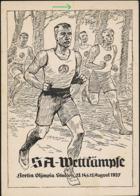 AK/CP SA Wettkämpfe  Berlin   Propaganda Nazi   Ungel/uncirc.1937  Erhaltung/Cond. 2-  , 1cm Einriss Oben  Nr. 00903 - Guerre 1939-45