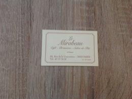 Carte De Visite De Cafe Brasserie Salon De The    Le Mirabeau   Paris 15eme - Cartes De Visite