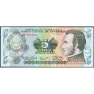 TWN - HONDURAS 63b - 5 Lempiras 30.3.1989 Prefix AE - Printer: THOMAS DE LA RUE & COMPANY, LIMITED UNC - Honduras