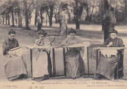 PLOMBIERES LES BAINS INDUSTRIE DU PAYS LES BRODEUSES CPA BE CACHET DE NEUCHATEAU 18 7 1908 - Plombieres Les Bains