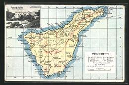 Passepartout-Postal Puerto De Orotava, Hotel Martianez, Landkarte Mit Pinar, Lava Und Tauces - Non Classificati