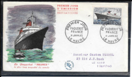 FDC 1962 - 1325 PAQUEBOT FRANCE - FDC
