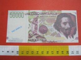 BN.01 BANCONOTA ITALIA LIRE 50.000 CARAVAGGIO FAC SIMILE DI PRESENTAZIONE D'EPOCA X DOCUMENTAZIONE NOT ORIGINAL - [ 2] 1946-… : Repubblica