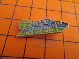 1319 Pin's Pins : BEAU ET RARE : Thème TGV / LES ENFANTS DES CHEMINOTS Payent Pas Les Billets ! - TGV