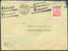 "1941 Bohemia Moravia Prag Cover - Schwitzingen Baden. ""Viktoria Vitezstvi"" Propaganda Machine Slogan - Bohemia & Moravia"