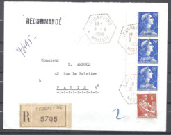 1958 Moselle Recommandé De Loudrefing à Destination De Paris 9 ème - Marcophilie (Lettres)