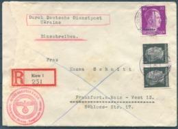 1942 Deutsche Dienstpost Ukraine Registered Kiew Cover - Frankfurt. Reichs Rundfunk G.m.b.H. Sondergruppe Hauptsender - Germany