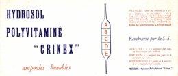 BUVARD  HYDROSOL  POLYVITAMINE  CRINEX - Produits Pharmaceutiques