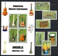 ANGUILLA 2001  CHRISTMAS,INDIGENOUS MUSICAL INSTRUMENTS SET & MS MNH - Anguilla (1968-...)