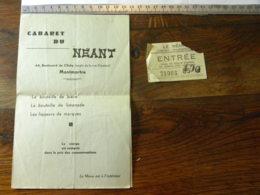 Cabaret De Néant 64 Bld Clichy Paris Montmartre - Ticket D'entrée Et Menu - Tickets D'entrée