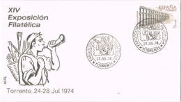 34435. Carta Exposicion Filatelica TORRENTE (Valencia) 1974. Deshollinador - 1931-Hoy: 2ª República - ... Juan Carlos I