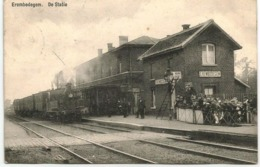 1911 CP Animée Erembodegem Aalst Alost De Statie La Gare Station Locomotive - Aalst
