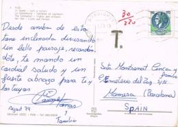 34436. Postal BORDIGHERA (Liguria) Italia 1979. TAXE, Tasada A Manresa (Barcelona). Vista PISA - 6. 1946-.. Repubblica