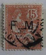 Timbre France YT 2 Franchise Militaire (°) 1901-04 Type Mouchon Retouché 15c Vermillon (côte 7 Euros) – 24 - Militaire Zegels (zonder Portkosten)