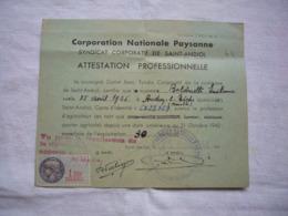 Corporation Nationale Paysanne Attestation Professionnelle 1925 Audun Le Tiche Moselle - Documentos Antiguos