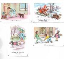 """Lot De 4 Cartes Postales De Voeux """" Bonne  Et Heureuse Année """" Illustrées Par T. Gougeon. Voir Le Scan - Nouvel An"""
