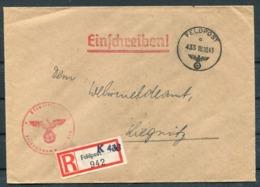 1943 Germany Einschreiben Feldpost Brief / Registered Fieldpost Cover - Liegnitz - Germany