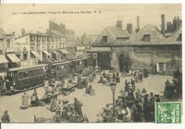 59 - VALENCIENNES / PLACE DU MARCHE AUX HERBES - ARRIVEE DU TRAIN - Valenciennes